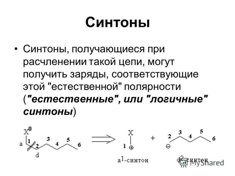 Синтоны Синтоны, получающиеся при расчленении такой цепи, могут получить заряды, соответствующие этой естественной полярности (естественные, или логичные синтоны)
