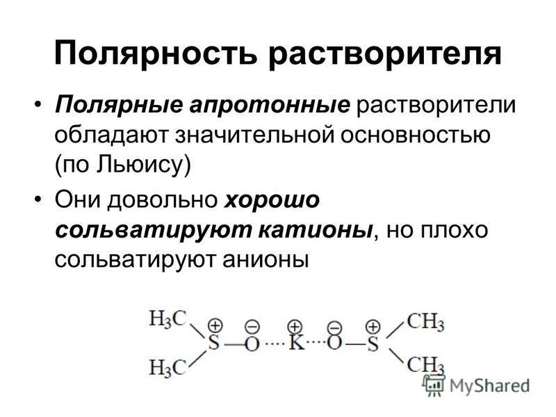 Полярность растворителя Полярные апротонные растворители обладают значительной основностью (по Льюису) Они довольно хорошо сольватируют катионы, но плохо сольватируют анионы
