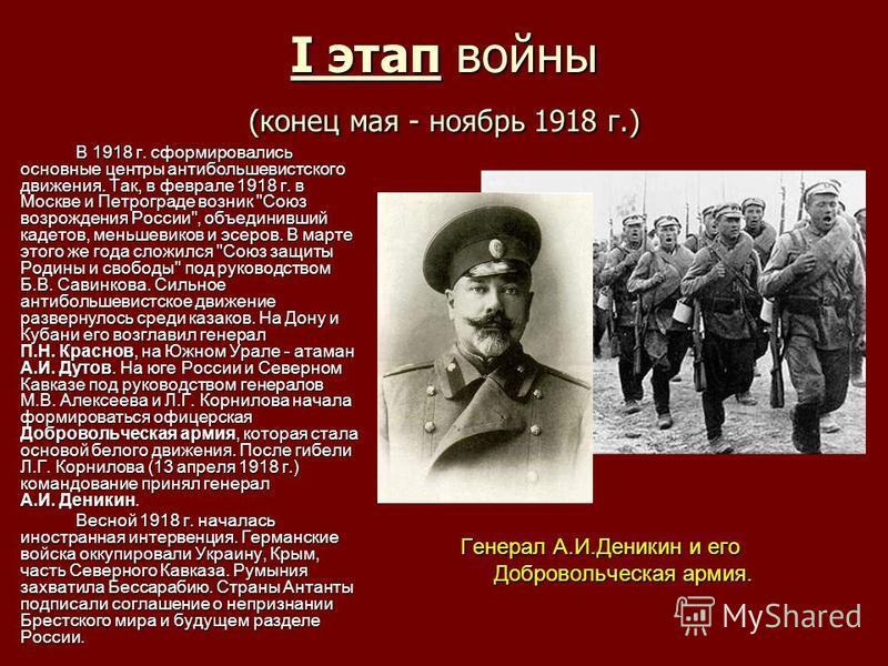 I этап войны (конец мая - ноябрь 1918 г.) В 1918 г. сформировались основные центры антибольшевистского движения. Так, в феврале 1918 г. в Москве и Петрограде возник