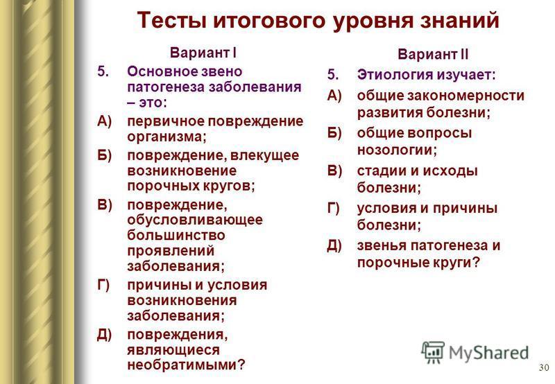 30 Тесты итогового уровня знаний Вариант I 5. Основное звено патогенеза заболевания – это: А) первичное повреждение организма; Б) повреждение, влекущее возникновение порочных кругов; В) повреждение, обусловливающее большинство проявлений заболевания;