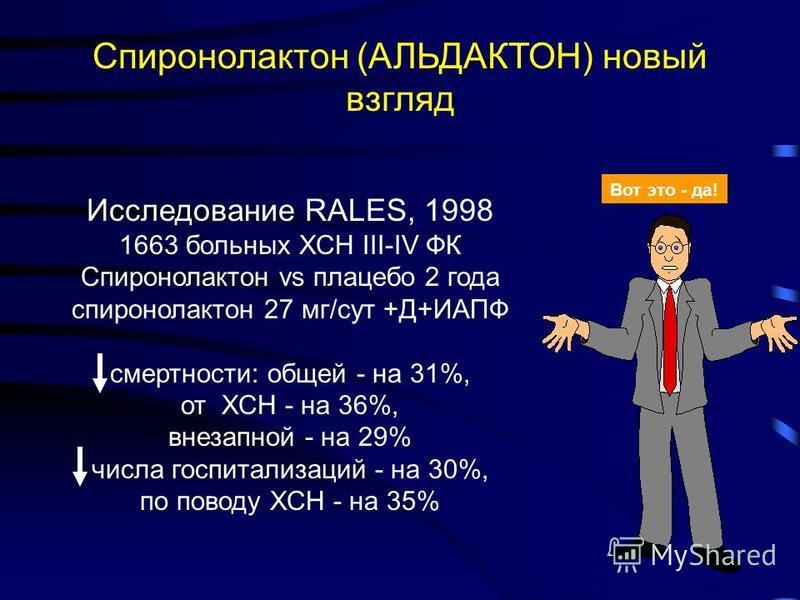 Спиронолактон (АЛЬДАКТОН) новый взгляд Исследование RALES, 1998 1663 больных ХСН III-IV ФК Спиронолактон vs плацебо 2 года спиронолактон 27 мг/сут +Д+ИАПФ смертности: общей - на 31%, от ХСН - на 36%, внезапной - на 29% числа госпитализаций - на 30%,