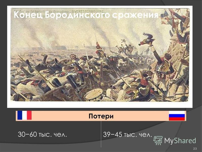 Конец Бородинского сражения Потери 3060 тыс. чел.3945 тыс. чел. 23