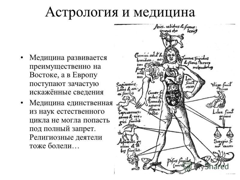 Астрология и медицина Медицина развивается преимущественно на Востоке, а в Европу поступают зачастую искажённые сведения Медицина единственная из наук естественного цикла не могла попасть под полный запрет. Религиозные деятели тоже болели…