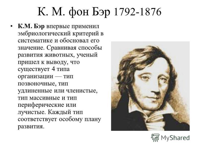 К. М. фон Бэр 1792-1876 К.М. Бэр впервые применил эмбриологический критерий в систематике и обосновал его значение. Сравнивая способы развития животных, ученый пришел к выводу, что существует 4 типа организации тип позвоночные, тип удлиненные или чле