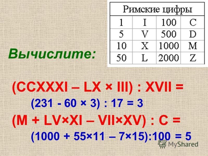 Вычислите: (CCXXXI – LX × III) : XVII = (M + LV×XI – VII×XV) : C = (231 - 60 × 3) : 17 = 3 (1000 + 55×11 – 7×15):100 = 5