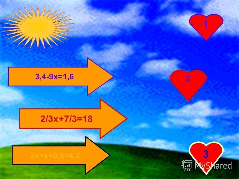 3,4-9 х=1,6 2/3 х+7/3=18 2 х+х+0,6=4,2 1 2 3