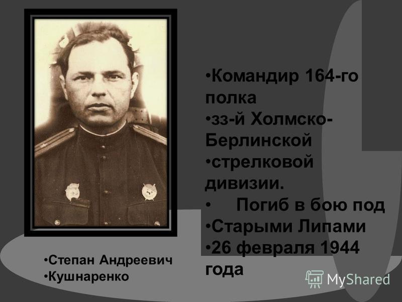 Степан Андреевич Кушнаренко Командир 164-го полка з-й Холмско- Берлинской стрелковой дивизии. Погиб в бою под Старыми Липами 26 февраля 1944 года