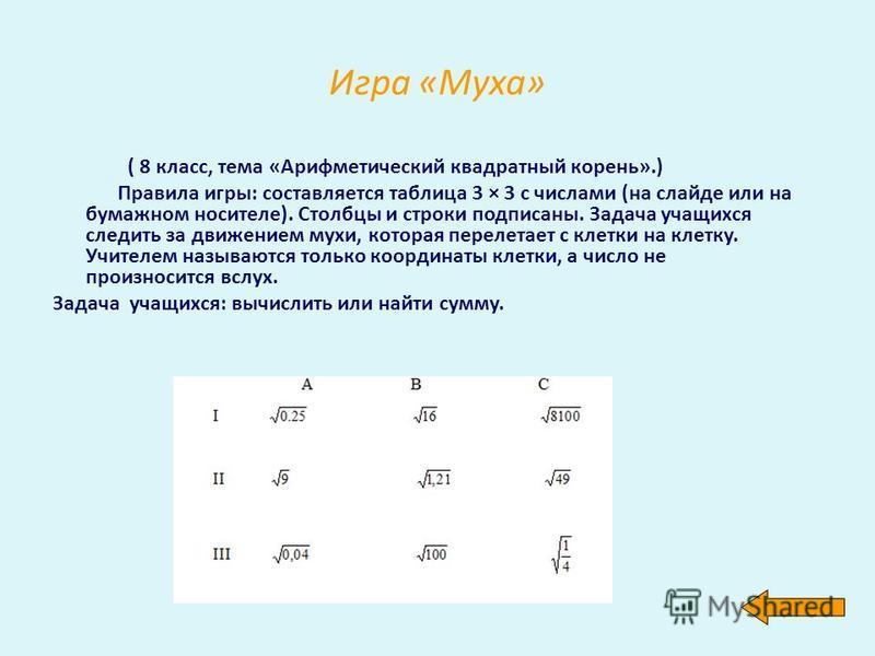 Игра «Муха» ( 8 класс, тема «Арифметический квадратный корень».) Правила игры: составляется таблица 3 × 3 с числами (на слайде или на бумажном носителе). Столбцы и строки подписаны. Задача учащихся следить за движением мухи, которая перелетает с клет