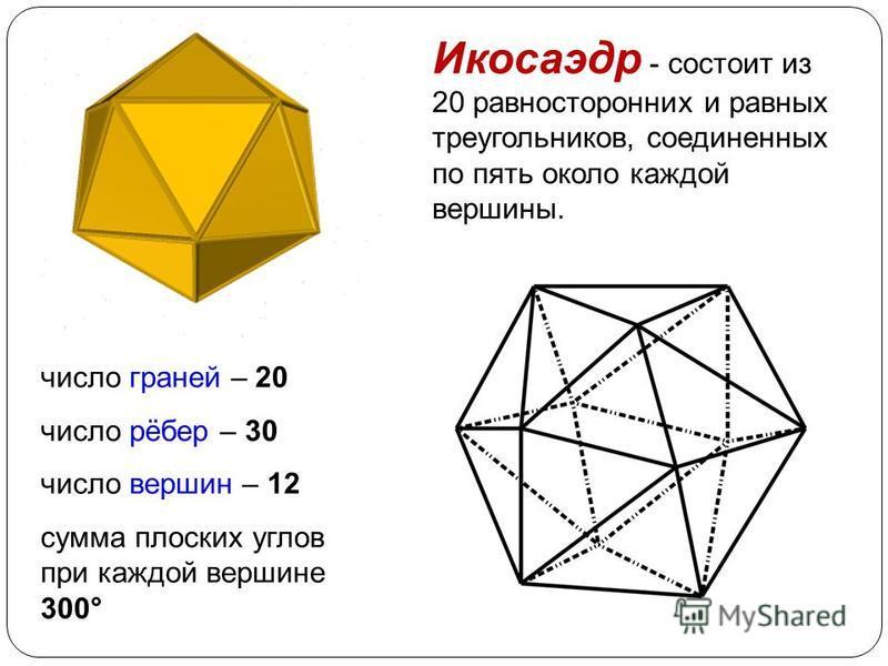 Октаэдр - правильный восьмигранник. Он состоит из восьми равносторонних и равных между собой треугольников, соединенных по четыре у каждой вершины. число граней – 8 число рёбер – 12 число вершин – 6 сумма плоских углов при каждой вершине 240 °