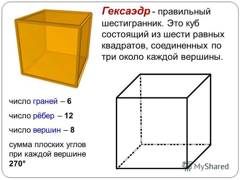 Икосаэдр - Икосаэдр - состоит из 20 равносторонних и равных треугольников, соединенных по пять около каждой вершины. число граней – 20 число рёбер – 30 число вершин – 12 сумма плоских углов при каждой вершине 300°