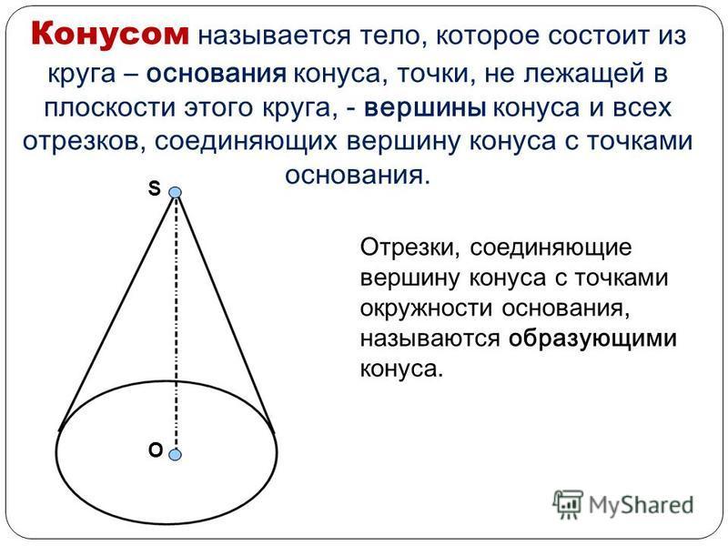 Цилиндром называется тело, которое состоит из двух кругов, не лежащих в одной плоскости, и всех отрезков, соединяющих соответствующие точки этих кругов. Круги называются основаниями, а отрезки – образующими цилиндра. Основания цилиндра равны. Образую