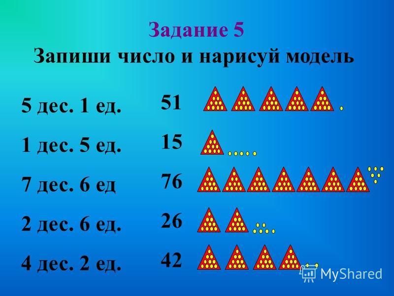Запиши число Задание 4 35 23 42 32 десятки единицы