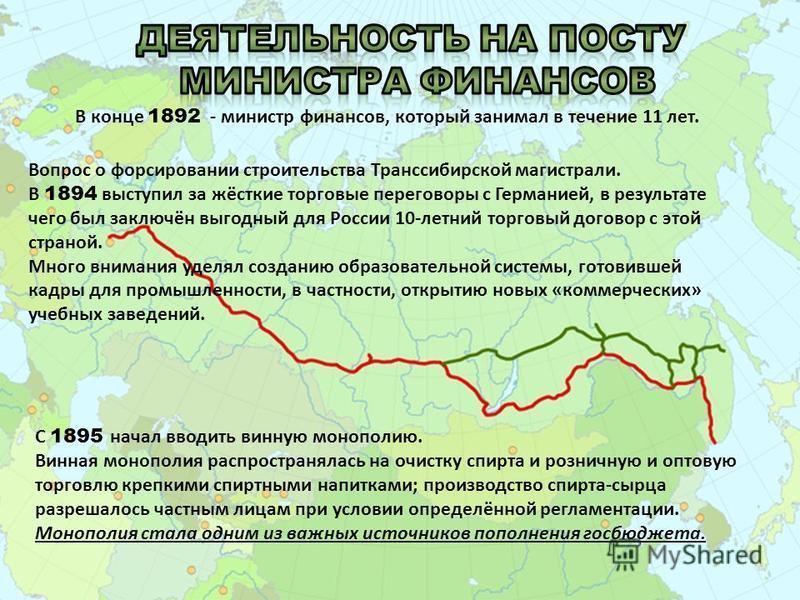 В конце 1892 - министр финансов, который занимал в течение 11 лет. Вопрос о форсировании строительства Транссибирской магистрали. В 1894 выступил за жёсткие торговые переговоры с Германией, в результате чего был заключён выгодный для России 10-летний
