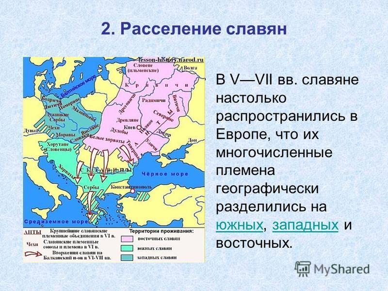 2. Расселение славян В VVII вв. славяне настолько распространились в Европе, что их многочисленные племена географически разделились на южных, западных и восточных. южных западных