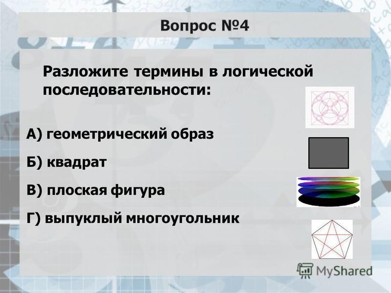 Разложите термины в логической последовательности: А) геометрический образ Б) квадрат В) плоская фигура Г) выпуклый многоугольник