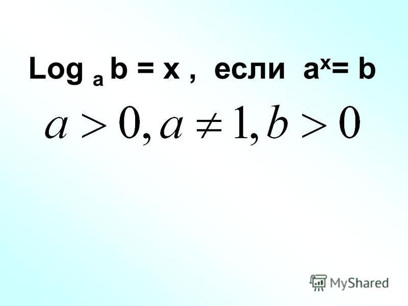 Log a b = x, если a x = b