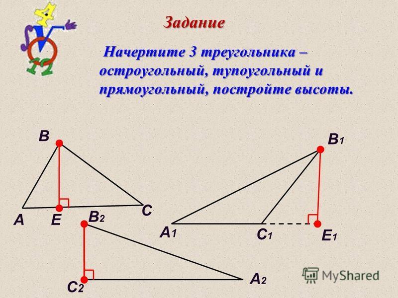 Задание C C1C1 C2C2 A A1A1 A2A2 B B1B1 B2B2 E E1E1 Начертите 3 треугольника – Начертите 3 треугольника – остроугольный, тупоугольный и остроугольный, тупоугольный и прямоугольный, постройте высоты. прямоугольный, постройте высоты.