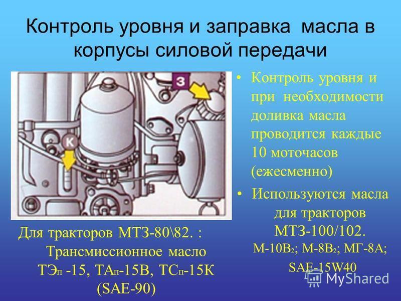 Контроль уровня и заправка масла в корпусы силовой передачи Контроль уровня и при необходимости доливка масла проводится каждые 10 моточасов (ежесменно) Используются масла для тракторов МТЗ-100/102. М-10В 2 ; М-8В 2 ; МГ-8А; SAE-15W40 Для тракторов М