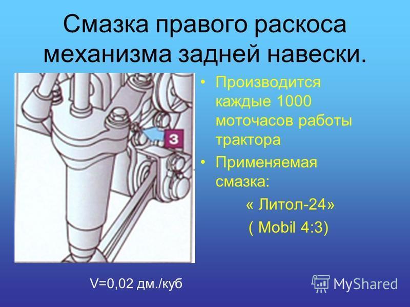 Смазка правого раскоса механизма задней навески. Производится каждые 1000 моточасов работы трактора Применяемая смазка: « Литол-24» ( Mobil 4:3) V=0,02 дм./куб