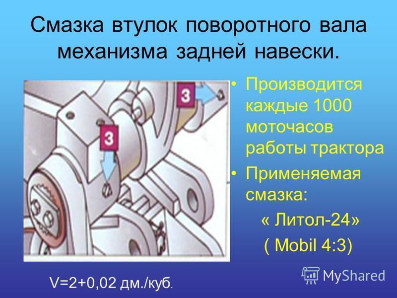 Смазка втулок поворотного вала механизма задней навески. Производится каждые 1000 моточасов работы трактора Применяемая смазка: « Литол-24» ( Mobil 4:3) V=2+0,02 дм./куб.
