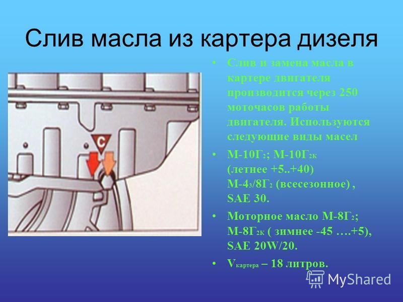 Слив масла из картера дизеля Слив и замена масла в картере двигателя производится через 250 моточасов работы двигателя. Используются следующие виды масел М-10Г 2 ; М-10Г 2К (летнее +5..+40) М-4 3 /8Г 2 (всесезонное), SAE 30. Моторное масло М-8Г 2 ; М