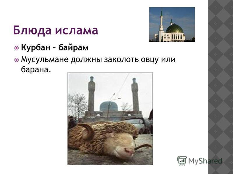 Блюда ислама Курбан – байрам Мусульмане должны заколоть овцу или барана.
