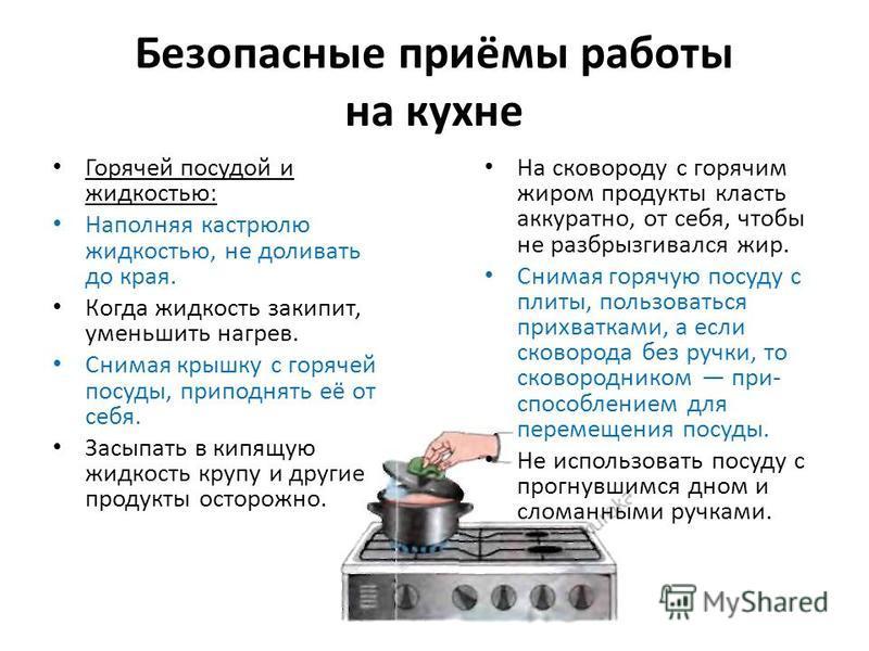 Безопасные приёмы работы на кухне Горячей посудой и жидкостью: Наполняя кастрюлю жидкостью, не доливать до края. Когда жидкость закипит, уменьшить нагрев. Снимая крышку с горячей посуды, приподнять её от себя. Засыпать в кипящую жидкость крупу и друг