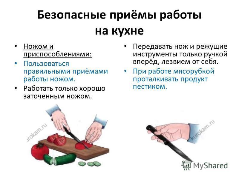 Безопасные приёмы работы на кухне Ножом и приспособлениями: Пользоваться правильными приёмами работы ножом. Работать только хорошо заточенным ножом. Передавать нож и режущие инструменты только ручкой вперёд, лезвием от себя. При работе мясорубкой про