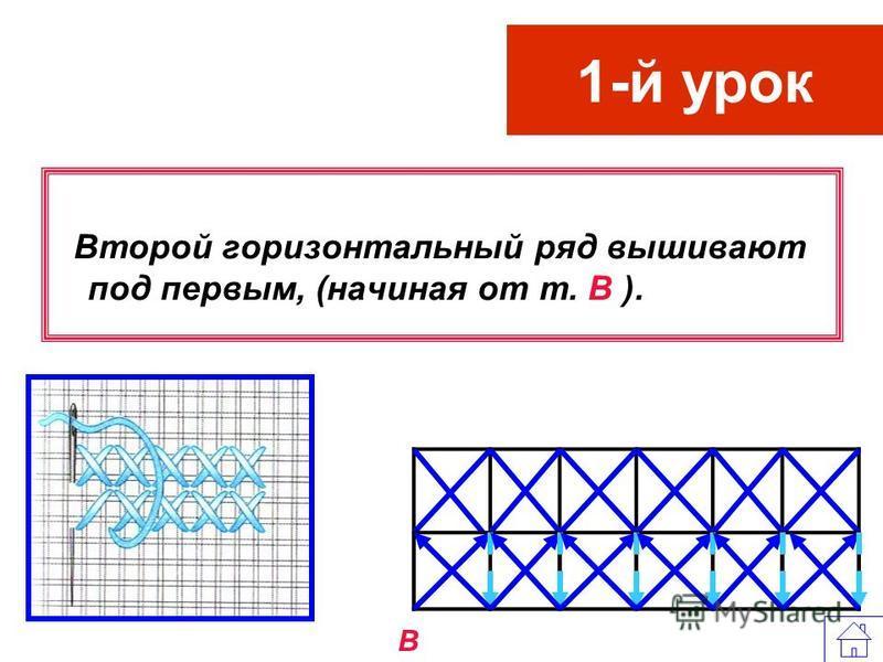 1-й урок Затем, возвращаясь в обратном направлении, дополняют их вторым элементом. Снизу справа (от т. Б)вверх налево, прокалывая иглой сверху вниз и укладывая стежки на одном и том же расстоянии друг от друга (стежки наклонены влево). Б Б