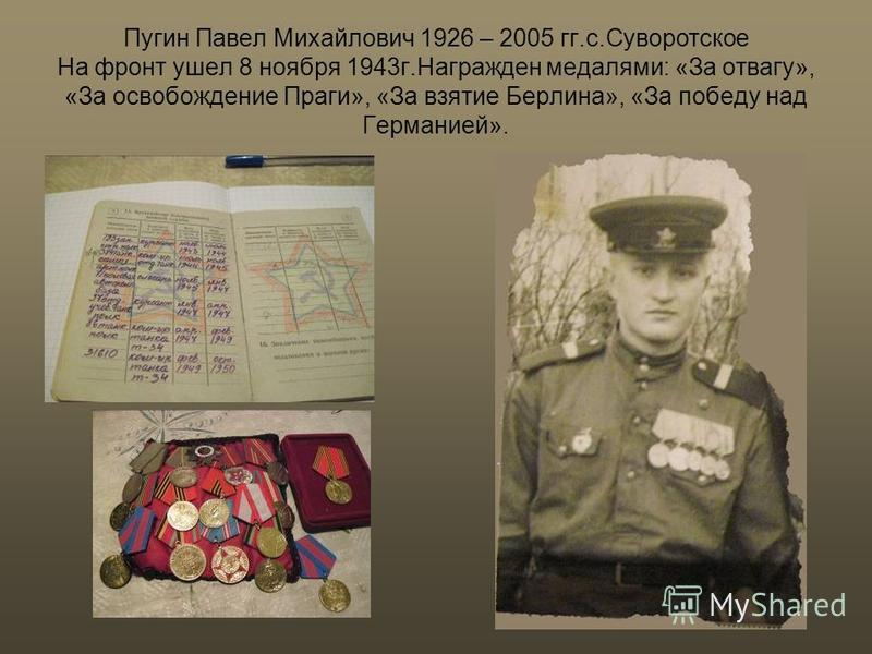 Пугин Павел Михайлович 1926 – 2005 гг.с.Суворотское На фронт ушел 8 ноября 1943 г.Награжден медалями: «За отвагу», «За освобождение Праги», «За взятие Берлина», «За победу над Германией».