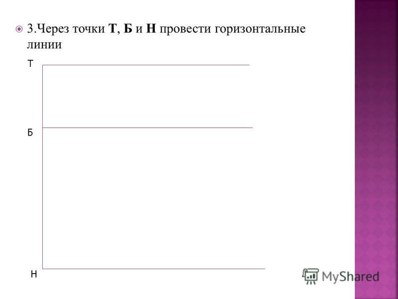3. Через точки Т, Б и Н провести горизонтальные линии Т Б Н