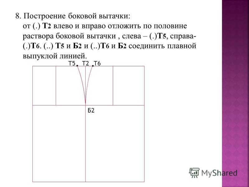 8. Построение боковой вытачки: от (.) Т 2 влево и вправо отложить по половине раствора боковой вытачки, слева – (.)Т 5, справа- (.)Т 6. (..) Т 5 и Б 2 и (..)Т 6 и Б 2 соединить плавной выпуклой линией. Т2 Б2.. Т5Т6