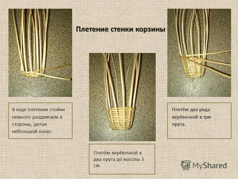 Плетение стенки корзины В ходе плетения стойки немного раздвигаем в стороны, делая небольшой конус. Плетём верёвочкой в два прута до высоты 3 см. Плетём два ряда верёвочкой в три прута.