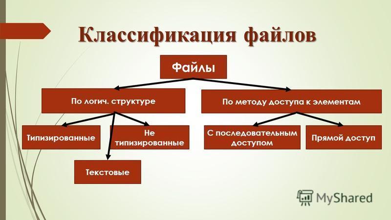 Файлы По логич. структуре По методу доступа к элементам Типизированные Не типизированные Текстовые С последовательным доступом Прямой доступ Классификация файлов
