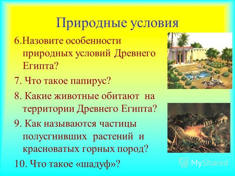 Природные условия 6. Назовите особенности природных условий Древнего Египта? 7. Что такое папирус? 8. Какие животные обитают на территории Древнего Египта? 9. Как называются частицы полусгнивших растений и красноватых горных пород? 10. Что такое «шад