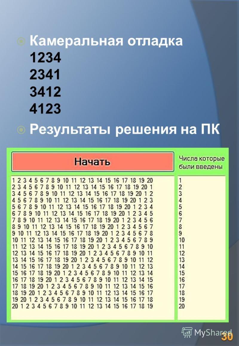 Камеральная отладка 1234 2341 3412 4123 Результаты решения на ПК