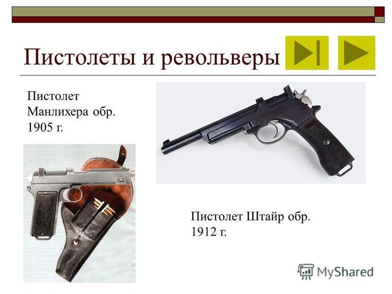 Пистолеты и револьверы Пистолет Манлихера обр. 1905 г. Пистолет Штайр обр. 1912 г.