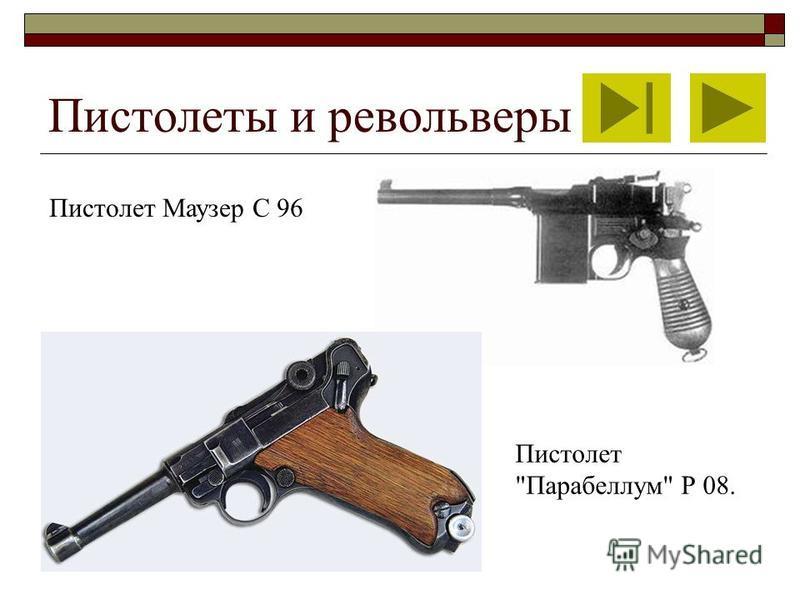 Пистолеты и револьверы Пистолет Маузер С 96 Пистолет Парабеллум Р 08.