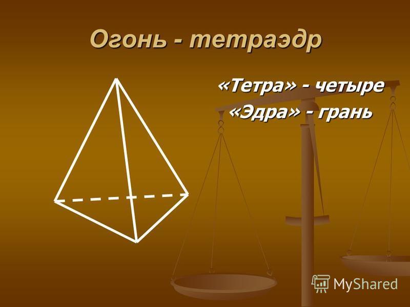 Огонь - тетраэдр «Тетра» - четыре «Эдра» - грань
