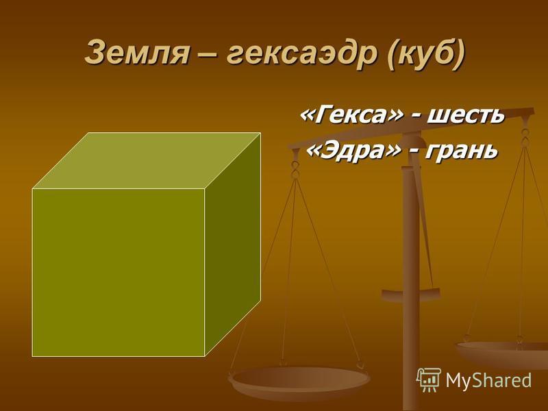 Земля – гексаэдр (куб) «Гекса» - шесть «Эдра» - грань