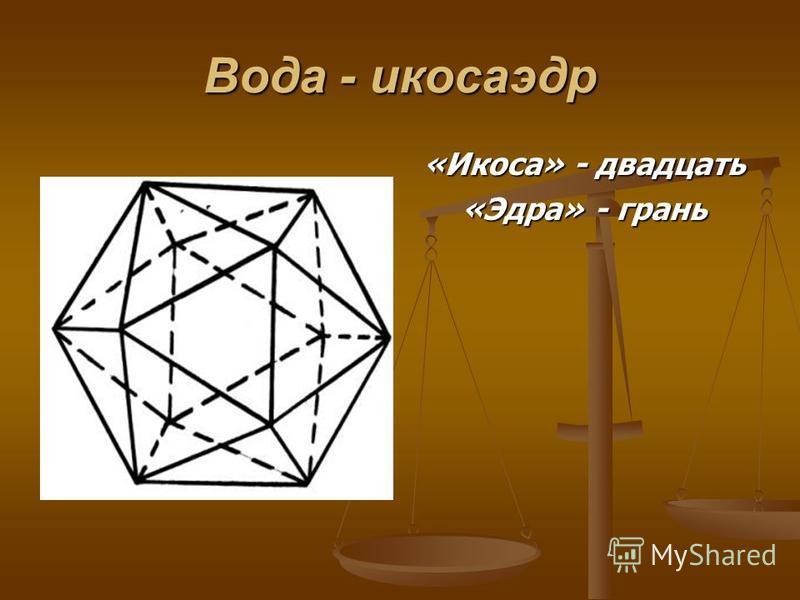 Вода - икосаэдр «Икоса» - двадцать «Эдра» - грань