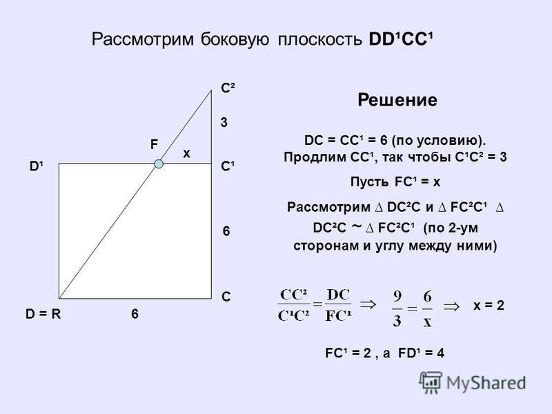 Рассмотрим боковую плоскость DD¹CC¹ D = R D¹ C C¹ C² F DC = CC¹ = 6 (по условию). Продлим СC¹, так чтобы C¹C² = 3 Пусть FC¹ = x Рассмотрим DC²C и FC²C¹ DC²C ~ FC²C¹ (по 2-ум сторонам и углу между ними) Решение 3 6 6 x x = 2 FC¹ = 2, a FD¹ = 4