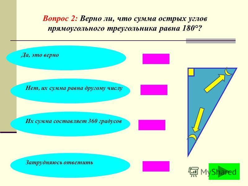 Вопрос 1: Выберите верную формулировку определения прямоугольного треугольника: Треугольник, у которого только два острых угла Треугольник с прямыми сторонами Треугольник, у которого все углы прямые Треугольник, у которого один угол прямой, а два дру