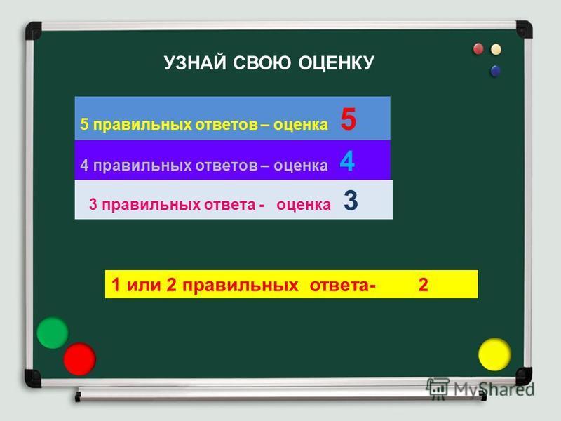 УЗНАЙ СВОЮ ОЦЕНКУ 5 правильных ответов – оценка 5 4 правильных ответов – оценка 4 3 правильных ответа - оценка 3 1 или 2 правильных ответа- 2