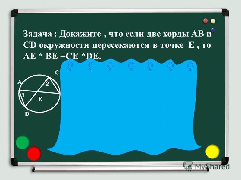 Задача : Докажите, что если две хорды AB и CD окружности пересекаются в точке Е, то АЕ * ВЕ =СЕ *DE. А D C B 1 2 E Доказательство : Рассмотрим треугольники ADE и СВЕ. на Углы 1 и 2 равны, т. к они вписанные и опираются на одну и ту же дугу BD. Углы 3