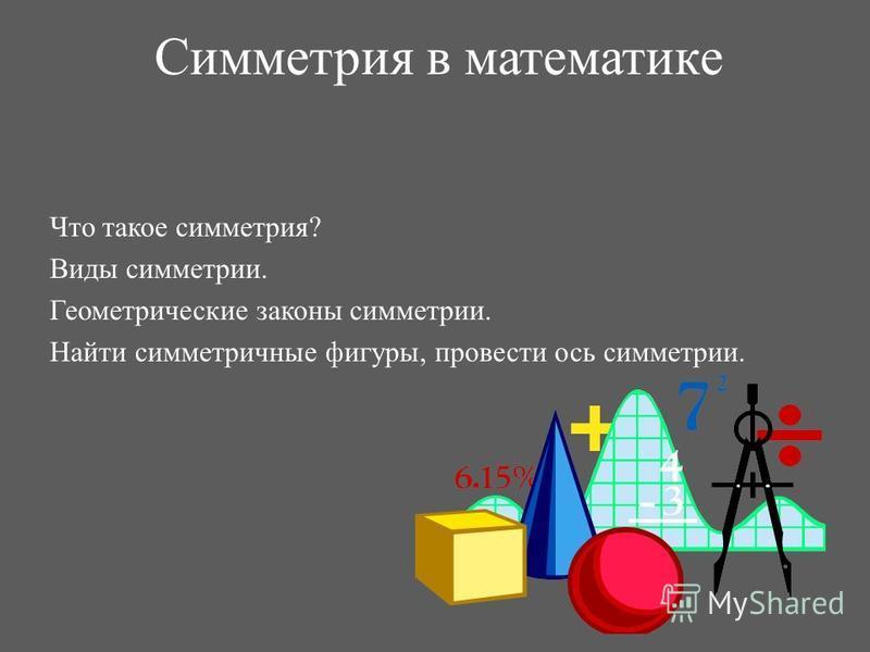 Симметрия в математике Что такое симметрия? Виды симметрии. Геометрические законы симметрии. Найти симметричные фигуры, провести ось симметрии.