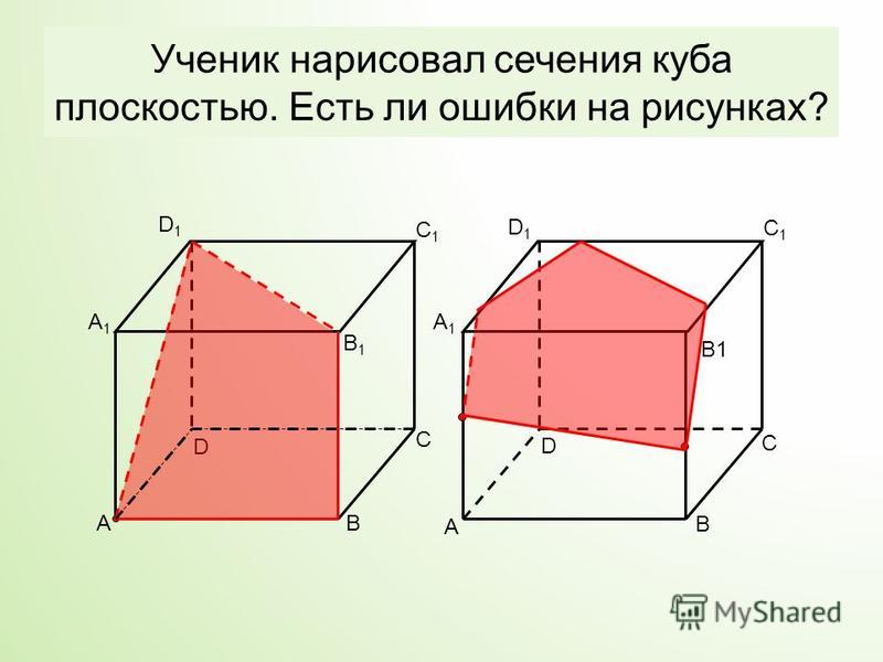 Ученик нарисовал сечения куба плоскостью. Есть ли ошибки на рисунках? A B D C A1A1 C1C1 D1D1 AB C D A1A1 D1D1 C1C1 B1B1 B1