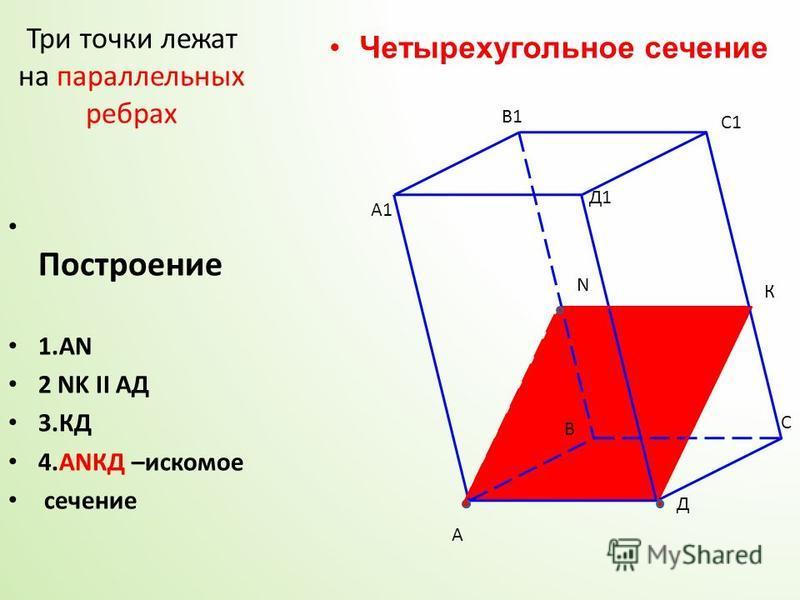 А А1 В В1 С С1 Д Д1 N К Три точки лежат на параллельных ребрах Построение 1. АN 2 NK II АД 3. КД 4. АNКД –искомое сечение Четырехугольное сечение