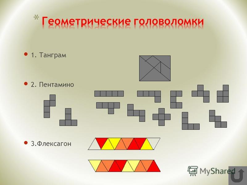 1. Танграм 2. Пентамино 3.Флексагон