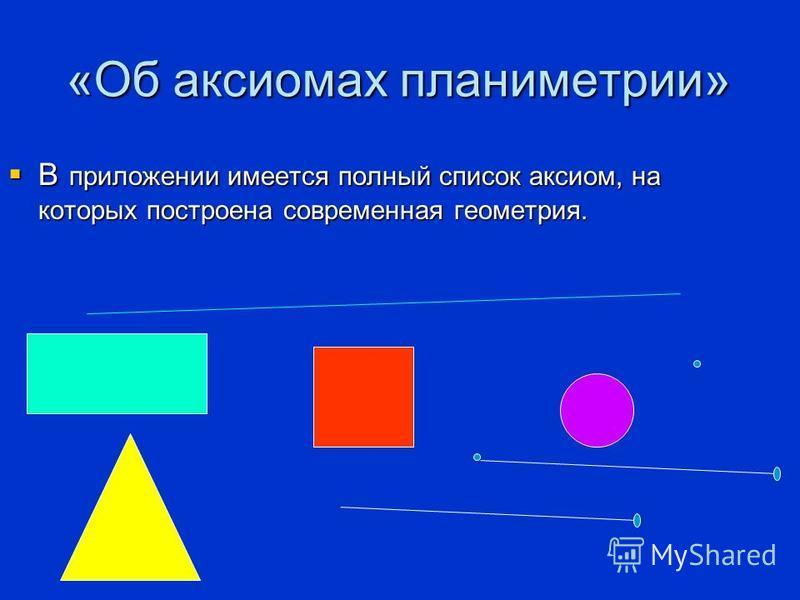 «Об аксиомах планиметрии» В приложении имеется полный список аксиом, на которых построена современная геометрия. В приложении имеется полный список аксиом, на которых построена современная геометрия.